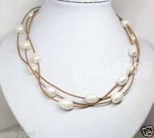 """Rare Big 11-12mm Natural White Freshwater Ova Pearl Brown Leather Necklace 17"""""""