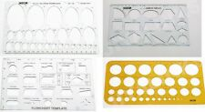 SET OF 4 STENCILS TEMPLATES FLOW CHART GEOMETRY ELLIPSE CIRCLES DRAWING STENCIL