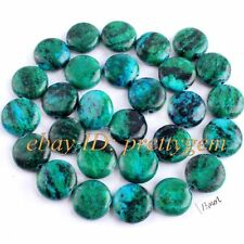 """13MM FLAT COIN CHRYSOCOLLA JEWELRY GEMSTONE LOOSE BEADS STRAND 15"""" , DYE COLOR"""