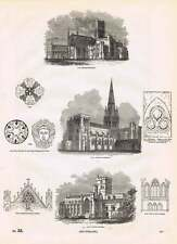 1854 Chichester Carlisle Hereford Cathedrals Ornamental Gables Engravings