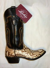 Lucchese M3039 Size 7D Mens Asher Python Snakeskin Cowboy Boots NATURAL/BLACK