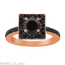 NATURAL ENHANCED BLACK DIAMONDS ENGAGEMENT RING 14K ROSE GOLD 1.42 CARAT