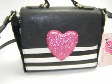 NWT Luv Betsey by Betsey Johnson LB Fur Crossbody Black Multi Stripe Faux Fur