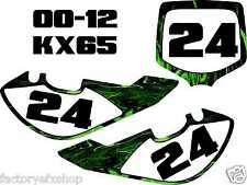 Kawaskai Kx65 Number Plates Kit 05-12 Green Flames Plate Graphics Decal MX kx 65