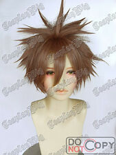 Short layer BROWN cosplay WIG FREE SHIPPING kingdom hearts sora