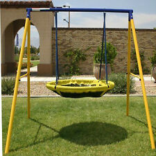 Round Swing Set Outdoor Playground for Kids Toddlers Play w/ Steel Frame Support