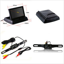 """4.3"""" Foldable LCD Display Monitor +License Plate Rearview IR Night Vision Camera"""