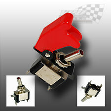 AIRCRAFT STYLE RED FLIP COVER TOGGLE SWITCH 12v RACING SWITCH