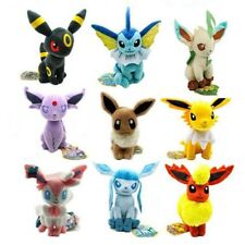 9pcs set Evolution of Sit Eevee Sylveon Umbreon Leafe Plush Doll Pokemon Toy new