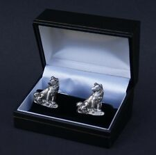 Cufflinks Collie Dog and Puppy Pewter Cuff Link Boxed Weddings FREE UK POST
