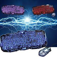 3 Color Crack LED Illuminated Backlit USB Wired Gaming Pro Keyboard + Mouse Set