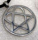 Heartagram Heart Pentagram Pentacle Magic HIM Star Rock Biker Pewter Pendant