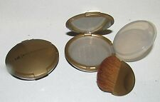 Qty 2 Bare Escentuals Gold Refillable Mirrored Mineral Makeup Compact w/Brush