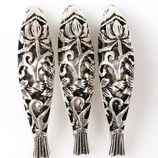 8pcs 112764 Charms Hollow Carved Flower Fish Vintage Silvery Alloy Spacer Beads