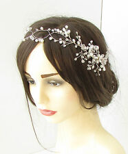 Long Silver White Bead Flower Hair Comb Wire Vine Headpiece Bridal Vintage 85