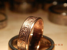 Coin Ring Size T - Crafted from India Half Anna - Bronze  #0105T