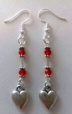 Tibetan Silver red bead silver heart charm sterling silver