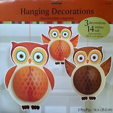 3 Thanksgiving Fall Autumn Honeycomb Paper Owl Decoration Seasonal Decor NEW!