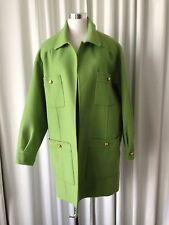 Ferragamo Oversize Green Coat With Logo Buttons Size L