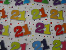 2 SHEETS OF GOOD QUALITY THICK GLOSSY 21st BIRTHDAY WRAPPING PAPER