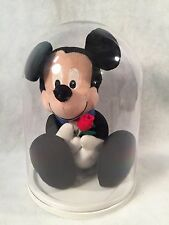 Disney Mickey Mouse Stuffed Animal Inside Dome Case Black Suit & a Rose