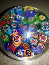 MURANO / STRATHEARN MILLEFIORI GLASS CLOSE PACKED SCATTERED CANE PAPERWEIGHT