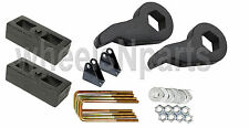 "Lift Kit Chevy Black Torsion Keys Shock Extend 2"" Cast Blocks 00-10 8 Lug Trucks"