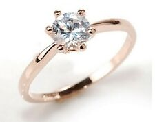 18K ROSE GOLD PLATED AUSTRIAN CRYSTAL SOLITAIRE ENGAGEMENT RING SIZE  K,LMN OQ