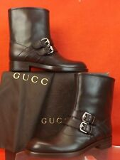 NIB GUCCI MARGARETT BLACK LEATHER MOTO BIKER BELTED FUR SHORT BOOTS 39 $895