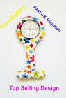 Brand New Fashion Silicone Nurses Brooch Tunic Fob Watch FREE BATTERY UK SELLERs