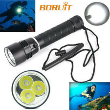 8000LM 3 x XM-L2 LED Scuba Diving Flashlight Torch 26650 Light Underwater 100m