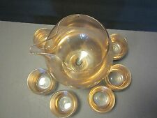 West Virginia 6 Roly Poly Glasses & MIXER Set Mid Century Modern Gold speckles 7