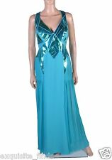 New VERSACE Turquoise Silk and Mirror Leather GOWN DRESS 44 - 8