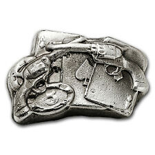 2 oz Silver Bar - Bison Bullion (Poker Gambler) - SKU #93777