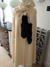 Vintage 50s / 60s cream ivory wool cape with real fur black trim coat