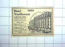 1927 Strictly First-class Hotel Vouillemont, Paris Winter Rates