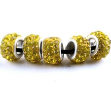 20 PCS SILVER MURANO GLASS BEADS LAMPWORK Fit European Charm Bracelet Yellow