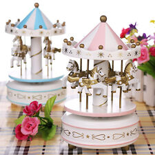 New Kids Girl Horse Carousel Music Box Toy Clockwork Musical Christmas Gift