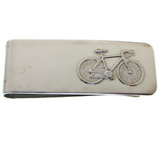 HALLMARKED STERLING SILVER MONEY CLIP WITH A RACING BIKE THEME