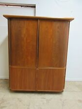 Vintage Danish Modern Teak Tambour Door Tv Stereo Entertaiment Cabinet unit