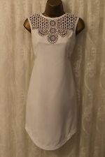 Karen Millen Crochet Tribal Lace Cutwork White Party Shift Dress 8 36