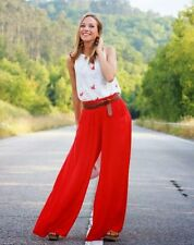 NEW ST.JOHN EVENING PALAZZO RUBY WIDE LEG PANTS SILK LINED 16 LARGE XL