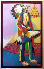 "Bruce King ""The First Rainbow Warriors"" Original Hand Signed Oil Painting L@@K!"