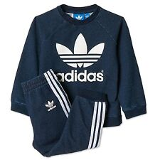 Adidas Originals Jogger Baby Jeans Jogging Costume denim pantalon + sweat bleu 68