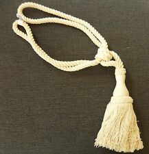 PLAIN CREAM COTTON CURTAIN TASSEL TIE BACK TIEBACKS HOLDBACKS ROPE CORD NATURAL