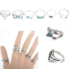 6Pcs/Set Silver Plated Ethnic Style Boho Arrow Moon Midi Finger Knuckle Rings