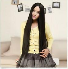 100CM Fashion Lady Full Long Straight Hair Wigs Cosplay Costume Party Black Wig