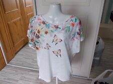 CAMEO ROSE WHITE BUTTERFLY SLEEVELESS  TOP SIZE L [03519235]