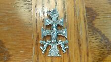 ANTIQUE 1800'S HIGHLY DETAILED STERLING SILVER CARAVACA CROSS W/ANGELS GORGEOUS