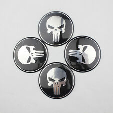 4x Wheel Center Hub Cap Car Auto Punisher Skull Emblem Badge Decal Sticker 60mm